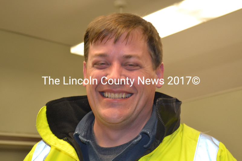 Wiscasset Road Commissioner Doug Fowler was all smiles following the town meeting, December 11, that approved a new plow truck for the town. (Charlotte Boynton photo)