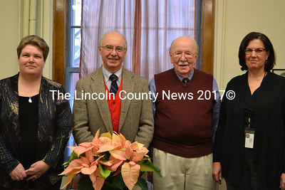 From Left: Deputy Register of Probate Catherine Moore, Probate Judge Thomas Berry, Register of Probate Chester Fossett, and Probate Clerk Karen Robbins. County officials celebrated Fossett's 44 years of service at a reception held at the Lincoln County Courthouse on Dec. 16. (Abigail Adams photo)