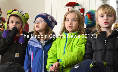 Miller School students (from left) Grayson Downing,  Isabella Tolman, Adelaide Morris, and Miley Black perform at Waldoboro Green. (D. Lobkowicz photo)