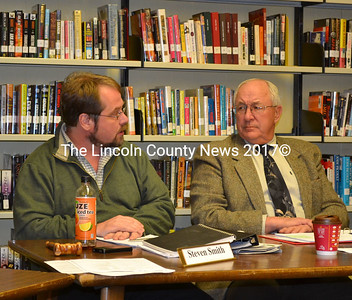 Wiscasset School Committee Chairman Steven Smith (left) and Superintendent Lyford Beverage plan the next steps at the Wiscasset School Board meeting Wednesday, Dec. 10. (Abigail Adams photo)