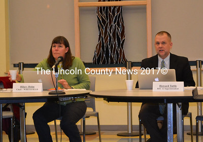 RSU-12 School Board Chair Hilary Holm and Superintendent Howard Tuttle at the RSU-12 board meeting Thursday Dec. 11. (photo Abigail Adams)