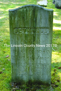 The engraving on the headstone for Seth Hall and his second wife Lydia reflects the passage of time between their deaths. The lettering for Lydia's inscription is clearly different from that of Seth's. (Laurie McBurnie photo)