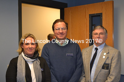 From Left: State legislators Rep. Stephanie Hawke D-Boothbay Harbor, Jeffrey Evangelos, I-Friendship, and Sen. Chris Johnson, D-Somerville, at the Two Bridges Regional Jail in Wiscasset Dec. 17. (Abigail Adams photo)