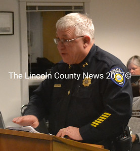 Waldoboro Police Chief Bill Labombarde speaks about police cruiser bids at the Waldoboro Board of Selectmen's meeting Feb. 11. (D. Lobkowicz photo)