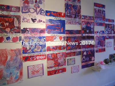 A huge, full wall display of love-themed artworks by Waldoboro Middle School students, under the guidance of art teacher Brooke Holland. (K. Fletcher photo)