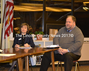 Elaine Tomaszewski and Bob Hasson of the Maine School Managment Association offer help to search for a new Wiscasset superintendent.  (Kathy Onorato photo)