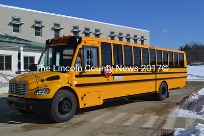W.C. Cressey & Son, of Kennebunk, delivered this new bus to Jefferson Village School Feb. 11. The school got approval for state reimbursement for an emergency replacement after it was found one of the buses needed $17,000 in repairs to pass inspection. (D. Lobkowicz photo)