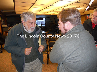 Edgecomb Selectman Jack Samarian (left) discusses superintendent characteristics, post workshop meeting, with Wiscasset School Board Search Committee Chairman, Steve Smith. (K. Fletcher photo)