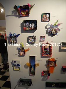 An entire Tidewater Gallery wall shows off mini-dioramas - artworks from the creative minds of Waldoboro Middle School students. (K. Fletcher photo)