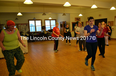 Zumba instrutor Debbie Speed (left) leads a class at St. Philip's Church in Wiscasset Feb. 9. (Kathy Onorato photo)
