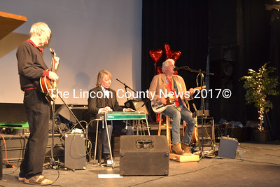 The Horseshoe Crabs entertain during the Healthy Kids ChocolateFest, held at The Lincoln Theater Feb. 8. Shown form left to right, Paul Sherman, bass, Peter Jackson, pedal steel, and Brian Robbins, guitar and vocals.