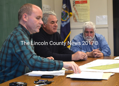 Small Harbor Improvement Program Manager Dan Stewart (left) met with the Bremen Board of Selectmen Nov. 22, 2013 to discuss possible grant funding for a water access project. The town has since received a $10,000 grant for an engineering study for the project, according to Selectman Hank Nevins (right). (D. Lobkowicz photo)