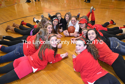 The Wiscasset High School girls basketball team celebrates the team's win over Boothbay during the high school's  pep rally Jan. 31. (Kathy Onorato photo)