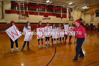 "Tim Flanaga a/k/a ""Flan"" leads the cheering during Wiscasset High School's pep rally Jan. 31. (Kathy Onorato photo)"