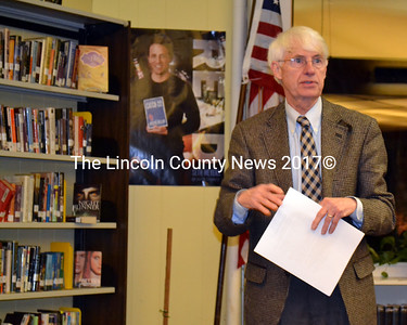 Newly appointed Wiscasset interim superintendent, Wayne Dorr, speaks to the public during the Wiscasset School Board meeting Jan. 30. (Kathy Onorato photo)