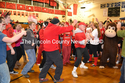 Wiscasset High School teachers Ralph Keyes and Bob Cronk get their groove on with students during the school's Spirt Challenge pep rally. (Kathy Onorato photo)