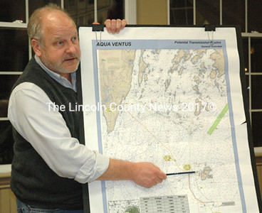 "Maine Sea Grant Director Paul Anderson reviews an possible route for a cable from the Maine Aqua Ventus I wind turbines to the mainland at a Bristol Wind Power Advisory Committee meeting March 4. Aqua Ventus representatives had little news to report as the project is ""on hold"" while the company awaits news of a federal grant. (J.W. Oliver photo)"