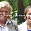 First District Congresswoman Chellie Pingree, left, and U.S. Senate candidate Shenna Bellows, right, spoke at the Lincoln County Democratic Committee's annual lobster bake in Walpole Aug. 17. (Tim Badgley photo)