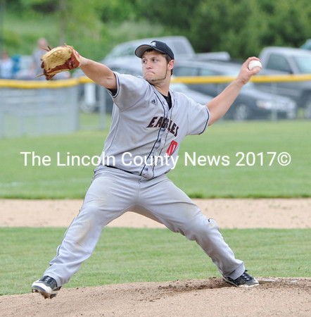 A.J. Oliver delivers a pitch for the Eagles. Oliver collected the win to advance Lincoln Academy to the West Class B championship game.