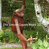 A monkey sculpture hangs from a tree on Nathan Nicholls' Waldoboro property. (Eleanor Cade Busby photo)