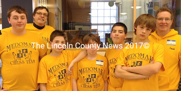 Medomak Middle School chess team took second place at the Maine State Scholastic Chess Tournament. Team members are Noah Munn, Osage Crie, Jakob McPhee, and Drew Bubar, and are coached by Jim DuBois with team administrator Bill McClellan.
