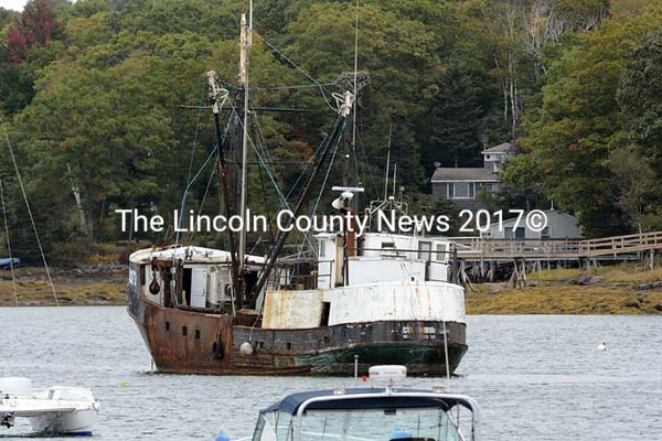 """The F/V <i></noscript>Columbia</i> rests at a mooring in Pemaquid Harbor in this file photo. Bristol officials and residents hope to see the vessel leave the </p> <p>harbor soon. (Photo courtesy Sherrie Tucker/www.sherrietucker.com)""""<br /> title=""""The F/V <i>Columbia</i> rests at a mooring in Pemaquid Harbor in this file photo. Bristol officials and residents hope to see the vessel leave the </p> <p>harbor soon. (Photo courtesy Sherrie Tucker/www.sherrietucker.com)"""" style=""""border:1px solid #777777;""""><br /> </p> <p><TABLE width="""