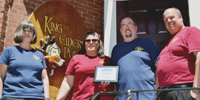 Down East Magazine's 2014 Editors' Best Of choice for crab roll is King Eider's Pub in Damariscotta. Partner-owners, left to right, are Melissa Organ, Cynthia Weiss, Jed Weiss and Todd Maurer (Sarah Maurer not pictured). (Tim Badgley photo)