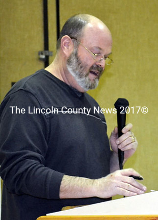 Whitefield Fire Chief Scott Higgins tells residents why his department needs a new fire truck at a public hearing Feb. 25. (Kathy Onorato photo)