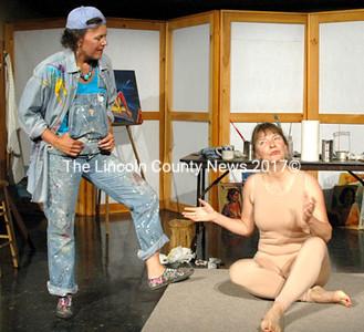 Natasha Salvo (left) discusses her artistic process with artist's model Andrea Handel in