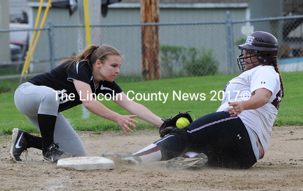 P. Topel is called safe at third, as Alyx York applies the tag. (Paula Roberts photo)