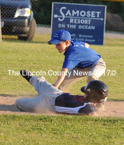 Ben Sawyer tags out Hunter Perry trying to steal second.