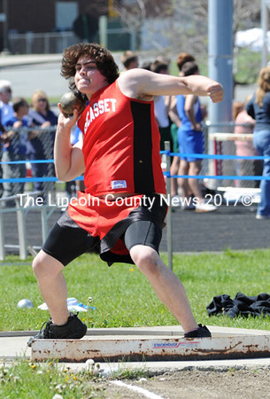 Nate Austin competes in the shotput at the MVC championships, May 29 in Augusta. (Paula Roberts photo)
