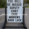 A sign outside Hilltop Stop on Main Street in Damariscotta wishes Damariscotta Deputy Police Chief Chad Andrews good luck Aug. 9. Andrews recently resigned and moved to Florida. (J.W. Oliver photo)