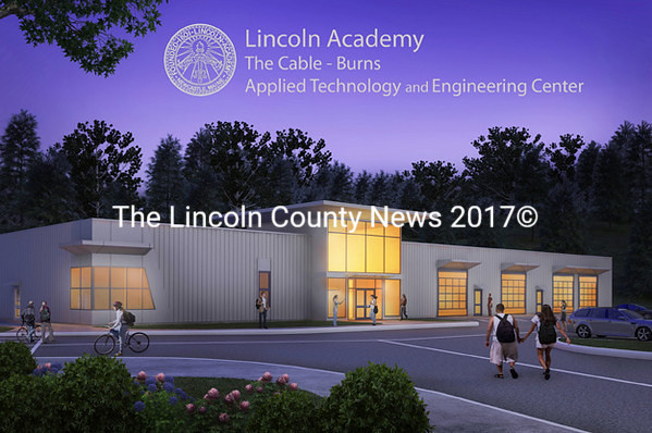 A rendering of the Cable-Burns Applied Technology and Engineering Center of Lincoln Academy. Lincoln Academy will break ground on the $2.7 million 
