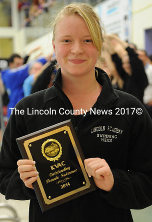 Lincoln Academy senior Heidi Zeigra was named 2014 Outstanding Female Swimmer of the KVAC championship meet.