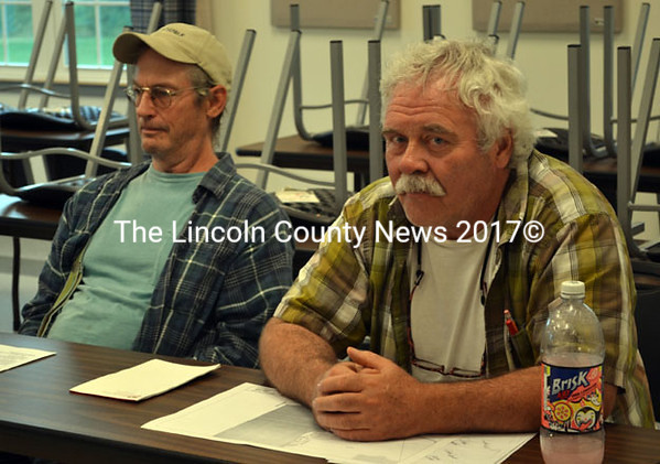 George Fergusson, left, of the Clary Lake Association and Tom Hayes, Whitefield's assessors' agent speak to the Whitefield Board of Selectmen Aug. 12. (Kathy Onorato photo)