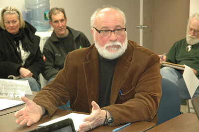 Angelo Pappagallo speaks to the Newcastle Board of Selectmen, Jan. 13. Pappagallo is the leader of a group of Sheepscot Road residents who are 
