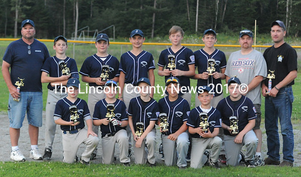 2014 Dirigo Little League champions, Jefferson. Team members are (front from left) Cody Wood, Gavin Pinkham, John Campbell, Ryan Creamer, Joel Pitcher, Justice Pierpont, (back) coach Marty Creamer, Cole Chapman, Logan Wood, Damien Doe, Lucas Grotton, Dylan Grotton, coach Jarrod Pinkham and coach Joel Pitcher. (Paula Roberts photo)
