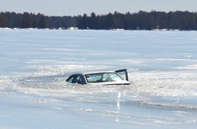 This car went through the ice on Damariscotta Lake about 100 feet from the tip of Wavus Point March 18. (D. Lobkowicz photo)