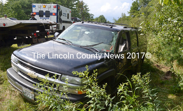 This Chevrolet sport-utility vehicle crossed the oncoming lane of Route 17 in Whitefield and traveled several hundred feet in the ditch before coming to rest on its side, according to Lincoln County Sheriff's Deputy Ken Hatch. (D. Lobkowicz photo)