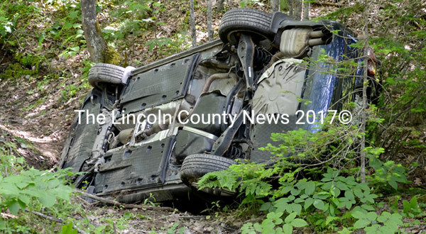 The occupants of this Volkswagen Jetta that rolled over on Rial Herald Road in Bremen June 16 were uninjured, occording to Lincoln County Sheriff's Deputy First Class Mark Bridgham. (D. Lobkowicz photo)