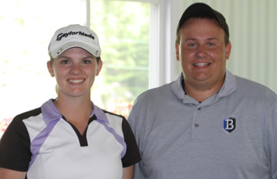 Bailey Plourde and Malcolm Oliver tied for first place in the Maine State Golf Association's Mixed Championship tournament.