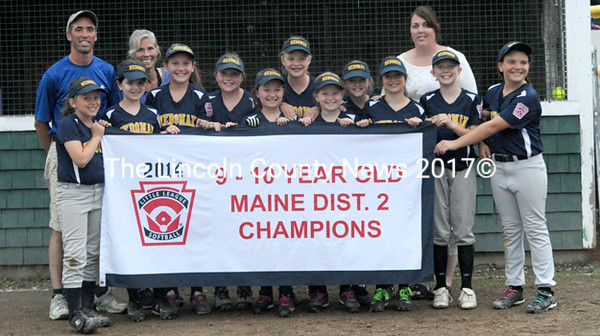 Medomak 9&10 Little League softball all-stars won the District 2 championship Tuesday night, 9-7 over Five Town. Team members are Lucy Jameson, Gabby Parker, Taylor Podrasky, Madi Simmons, Cameron Bains, Eliza Nelson, Baylee Stewart, Autumn Ripley, Hannah Lee, Grace White, and Stephanie Morse. The team is managed by Scott Martin. Also coaching are Carrie White and Stacy Simmons.