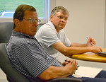 Sen. Chris Johnson (right), D-Somerville, and Rep. Jeff Evangelos, I-Friendship, attended a public meeting on the care of veterans' graves in Waldoboro July 15. (D. Lobkowicz photo)