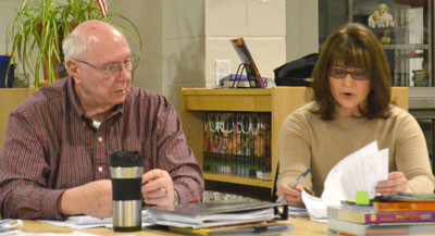Jefferson School Committee Chair Robert Westrich listens as member Maria Solorzano speaks about the proposed 2014-2015 education budget. (D. Lobkowicz photo)