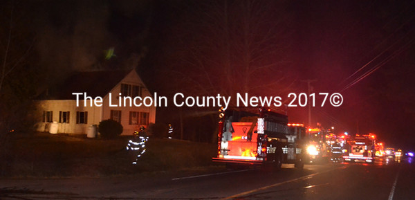 The structure fire on Gardiner Road/Route 27 April 29 drew a heavy turnout. Departments from six area towns including Wiscasset, Alna, Edgecomb, 