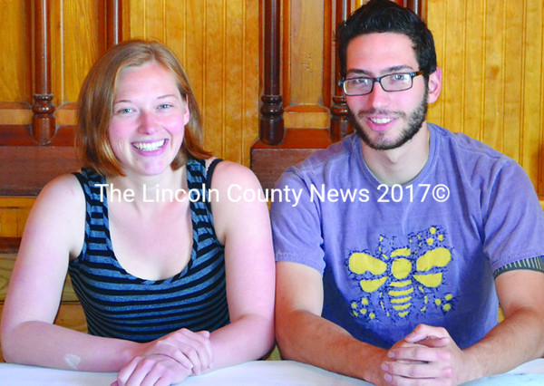 Seated at soon-to-be-open Van Lloyd's Bistro at 85 Parking Lot Lane in Damariscotta, partners Torie Van Horne, left, and August DeLisle, right, take   a break from preparing for their opening, slated for mid-June. (Tim Badgley photo)