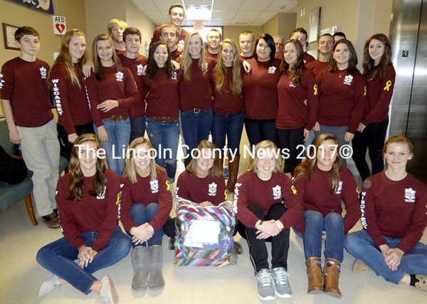 The Wiscasset High School Student Council visits the Togus Veterans Administration Medical Center in Augusta Thursday, Nov. 20. Students baked   cookies, talked, and sang with the veterans during their annual visit. (Photo courtesy Deb Pooler)