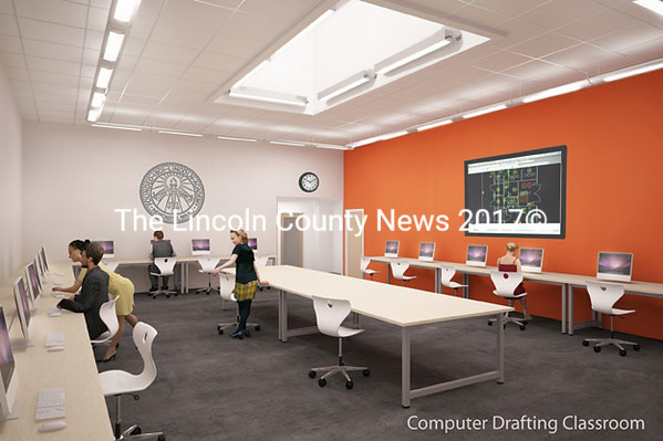 A rendering shows students at work in a computer-drafting classroom inside the Cable-Burns Applied Technology and Engineering Center of Lincoln 