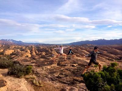 Impromptu desert yoga session during the 2015 ASC Moab staff retreat